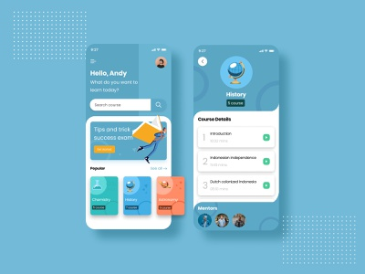 E-Learning learning app science blues uikit education learning platform learning uiux uidesign mobileapp ui ux mobile design