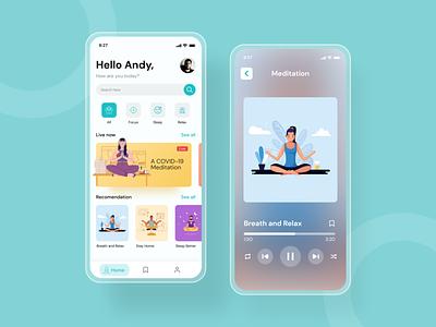 Meditation App 2020 trends uxui ux user inteface 2020 ui trends music mobile ui app design trend web mobile meditation app meditation app minimalist 2020 design 2020 trend