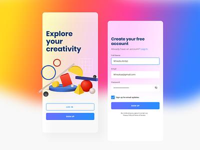 #Exploration Sign Up mobile apps ux ui sign up ui design sign up 2020 trend 2020 design mobile app app glass