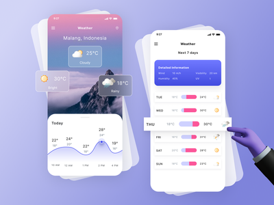 Weather App mobile app weather app weather 3d modern minimalist uidesign uxdesign uiux ux ui 2020 ui trends 2020 trends