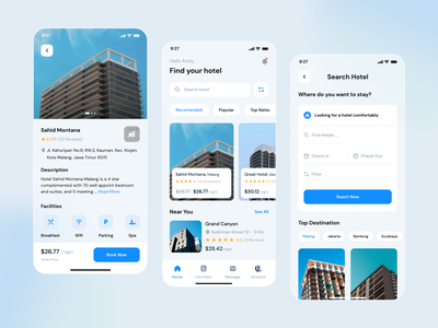 Hotel Booking - Mobile App android mobile branding booking product uidesign clean uiux ui minimalist apps ios hotel hotel booking