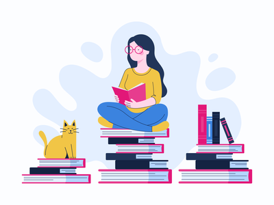 Staying At Home quarantine isolation covid-19 reading cat girl app bannersnack vector illustration flat graphic design