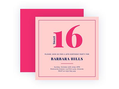 Sweet 16 layout invitation design app bannersnack clean minimal graphic design