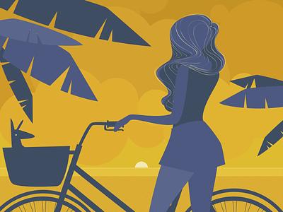 July dog girl purple yellow vector sunset bike summer mood july illustration graphic design flat calendar