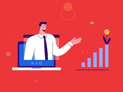 Financial Marketing in 2020 laptop device online money increase man app bannersnack design vector illustration flat graphic design financial service financial services marketing financial