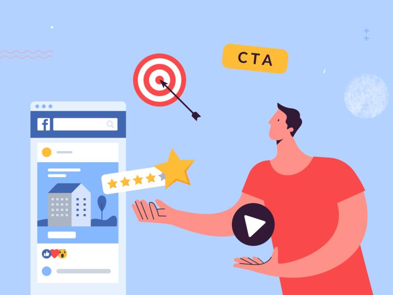Strategies to Boost Real Estate Facebook Ads facebook social media feed man boost facebook ads real estate article app bannersnack design vector illustration flat graphic design