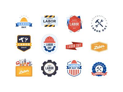 Labor Day Badges typo set badge labor day app bannersnack design vector illustration flat graphic design