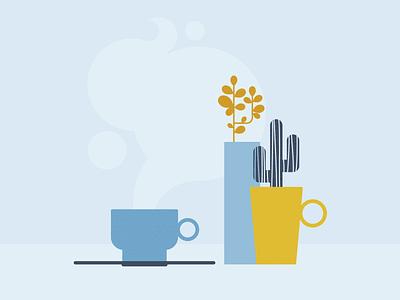 September cozy autumn september coffee tea cup mug cactus plants blue yellow calendar mood clean design minimal vector illustration flat graphic design