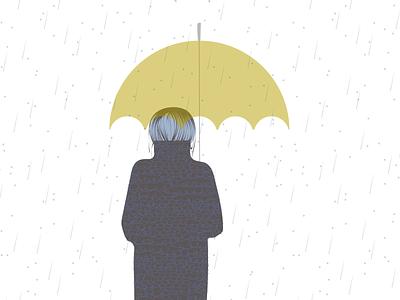 October umbrella autumn girl rainy rain yellow purple calendar mood clean design minimal vector illustration flat graphic design