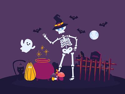 Halloween Elements graphic design flat illustrator vector design bannersnack app halloween scary cute ghost pumpkin cat spider bats moon skeleton cemetery dark elements