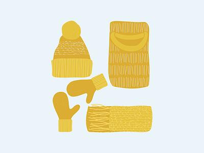 November set knitted warm mood autumn november scarf mittens hat sweater winter yellow calendar clean design minimal vector illustration flat graphic design