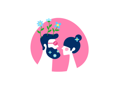 Hipster Couple hippy hippie love couple hipster valentines day girl boy woman man creatopy app bannersnack clean minimal design vector illustration flat graphic design