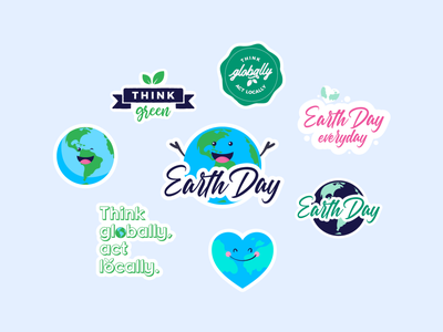 Earth Day happy stickers sticker earth day earthday earth typo lettering badges badge creatopy app design vector illustration flat graphic design
