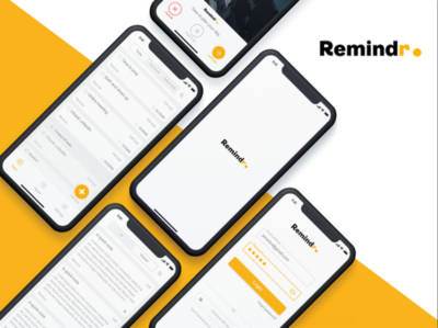 Remindr App interaction design ui ux design app