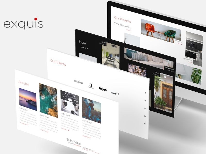 Exquis - An interior decoration website minimalism responsive design desktop design logo desktop mobile interaction design ux ui design