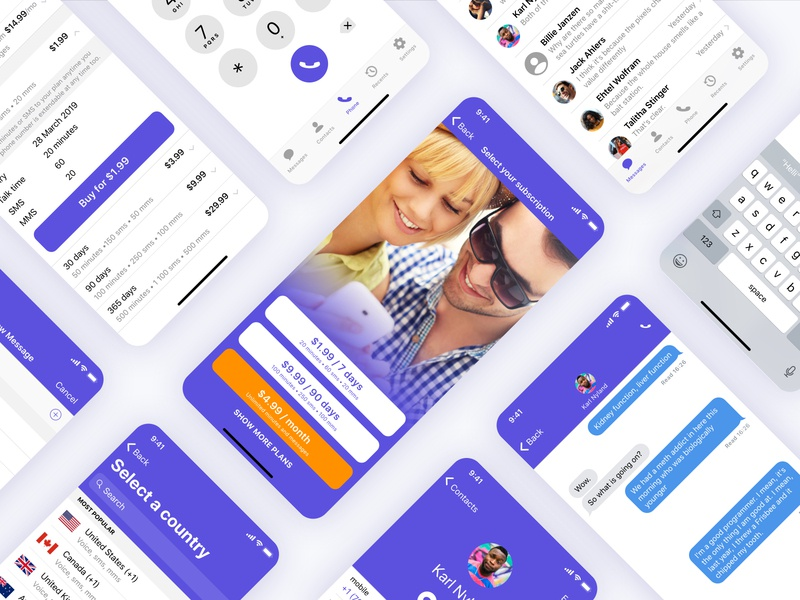 Second Phone sms plans settings recent contact messages subscription second phone call phone mobile ui mobile design mobile app design mobile app mobile ui ux ux design ui design design