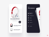 Shopping app music solo ux ui card application mobile ui mobile app mobile app design wishlist favorites favorite order beats headphone wireless mobile shopping app shopping shop