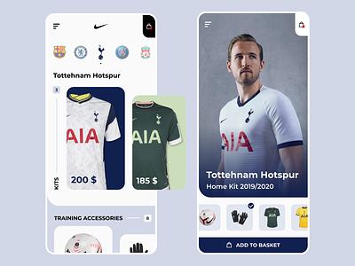 Nike + Tottenham  store concept - mobile app football app football club ui design mobile design store colors branding football soccer sport ball nike shopping shop mobile app design mobile app mobile design