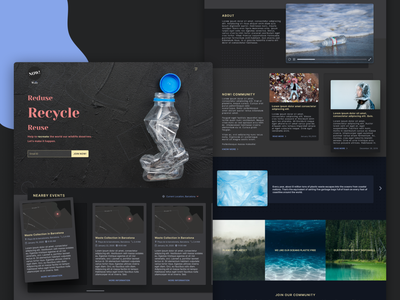 Fighting Plastic Pollution facts blue black inter ui events design ui landing page dark mode pollution plastic