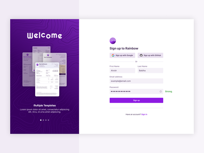 Sign up page sign in web app app design invoicing invoice template purple form web design rainbow sign up typography ux ui product design