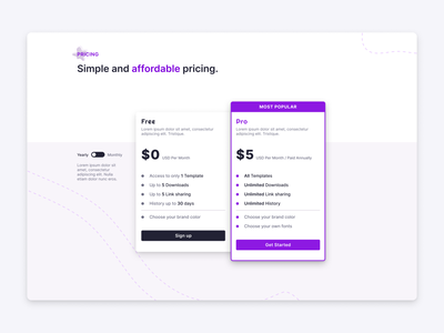 Pricing product design toggle typography cta pricing page landing page website design ux ui design