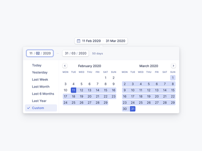 Date Range Picker ux ui application web app web design ui design ux design digital product product design calendar design calendar date picker date range typography date