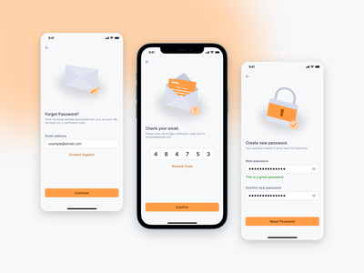 Forgot Password? mockup mail application digital product product design mobile mobile ui ios ios app iphone otp reset password password forgot password orange ux design ux  ui ui design app design mobile app