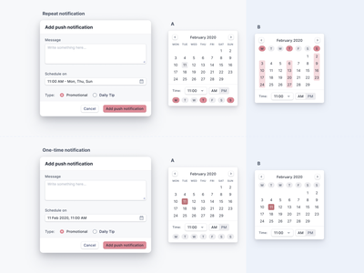 Push Notification - Day selector design system components ux ui admin panel web application time picker popup product design design push notification calendar design typography date picker