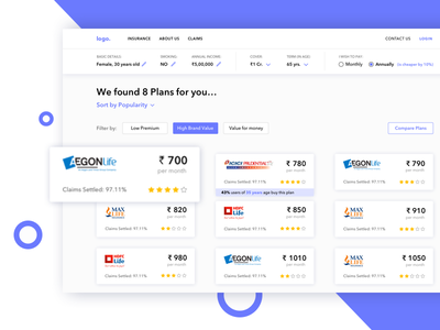 Insurance Plans (CoverFox) pricing minimal rating typography sorting filters web app carddesign cards ui ux plans insurance