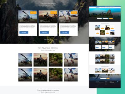 travel web landing page layout