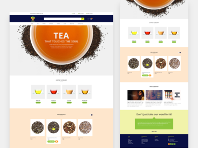 Tea store home page design
