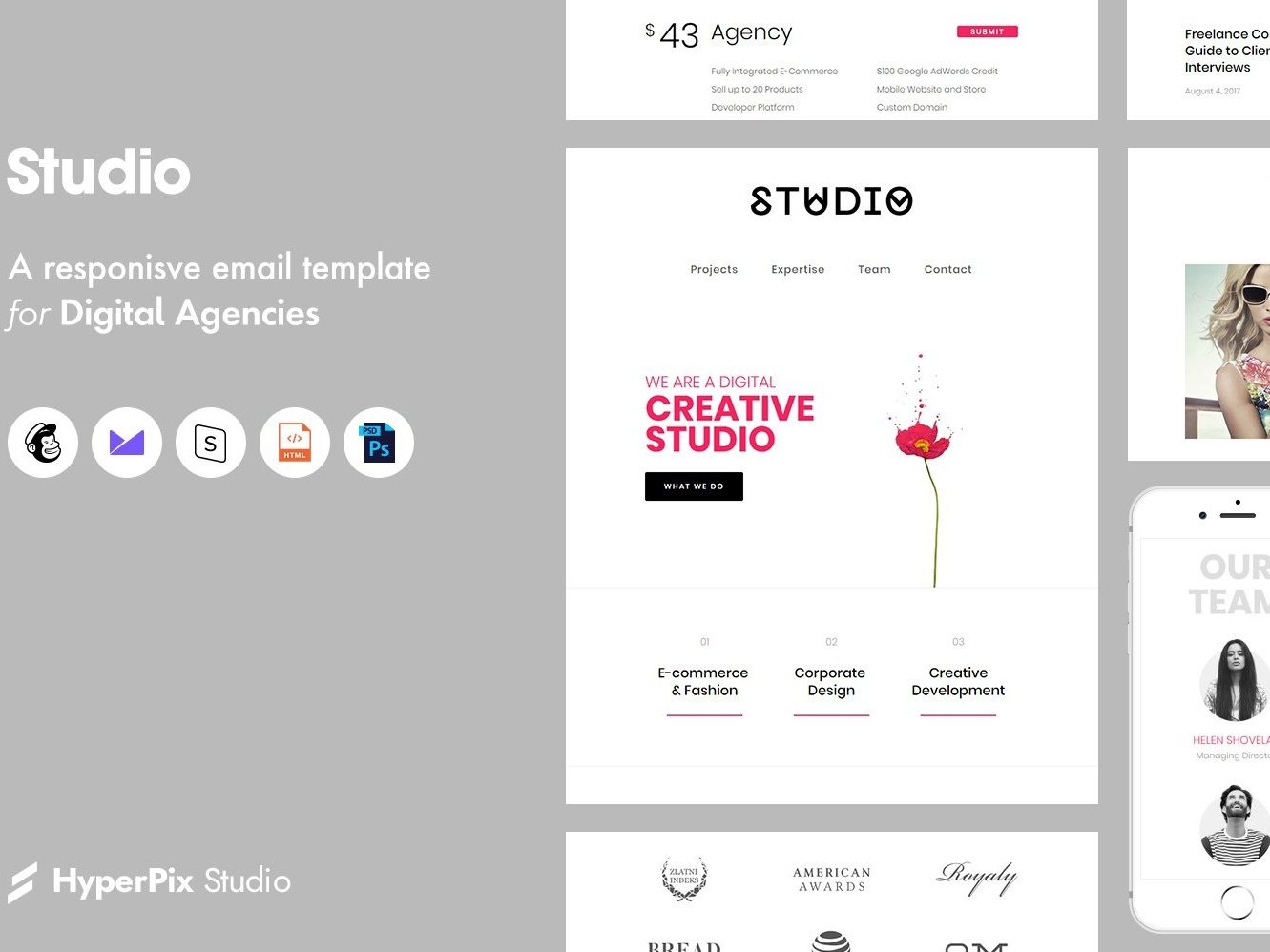 Studio Email Template mail logo download template checklist templates email designer bussines email minimal lettering email receipt email marketing email list email design bundle design studios email template email studio
