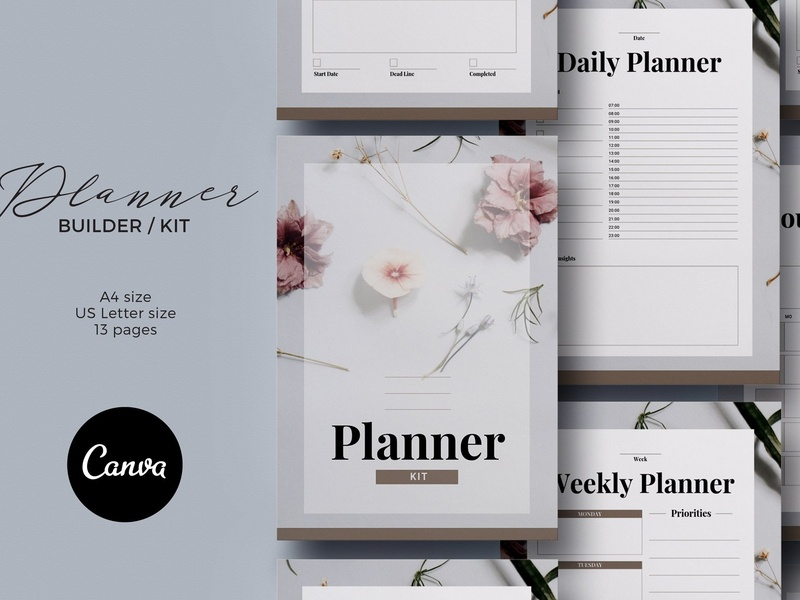 Planner Kit Canva Template template ebook app checklist templates email designer bussines email minimal lettering email template email receipt email marketing email list email design bundle email design kit planner canva