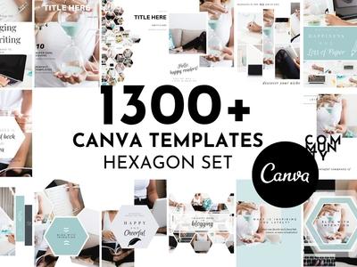 1300+ Canva Templates - Hexagon Set
