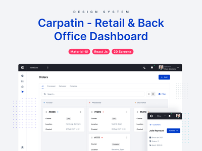 Carpatin - Admin Dashboard Design System reactjs react devias design system user users customer customers orders order products product back office admin ui dashboard ecommerce retail