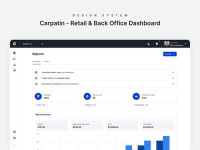 Carpatin - Dashboard Reports Overview latest orders sales retail ecommerce reports dashboard
