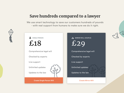 Law Services Pricing Cards price package childish landing page drawings landing page pricing plan pricing plans law services create will online will services law