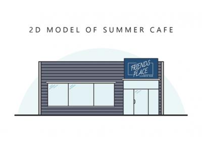 2D model of summer cafe