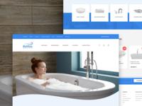 Bathroom Accessories Store spa wellness cold header hero e-commerce webshop minimal modern blue clean bathroom
