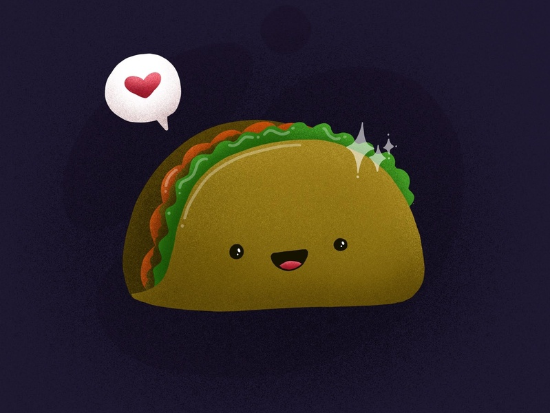 Taco Love love food taco design yow spacenoise procreate ottawa kawaii illustration art illustration digitalpainting digiart