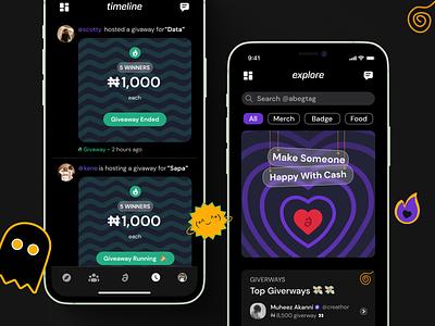Abeg app in Dark mode uiux ui dribbble app design design creative design application android