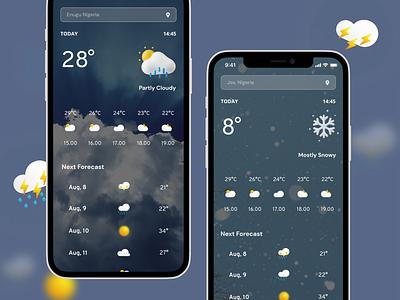 Weather App uiux design design ui android dribbble application creative design app design