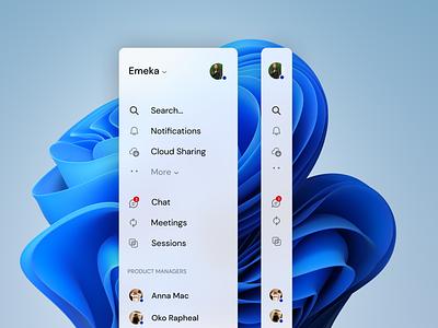 Sidebar Navigation windows11 dribbble design app design desktop sidebar ui