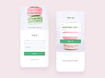 sweets App sign up/log in screen mobile delivery app mobile app sweets app log in sign up dailyui001 dailyui 001 app ux ui