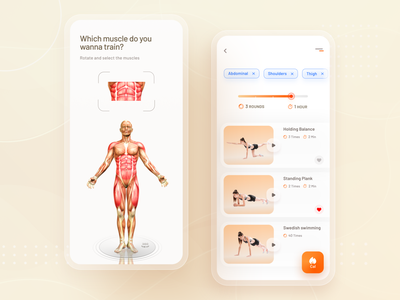 Fitness App workout sports mobile app ux ui practice dailyui muscles training app fitness app