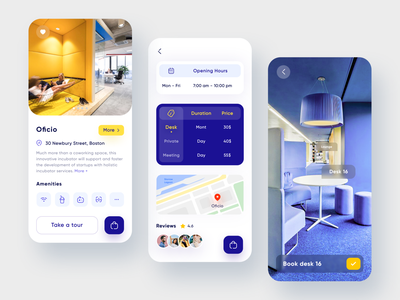 Cowork space/office booking App design map design ui design office freelance remote tour booking map workspace meeting work mobile app product design figma dailyui mobile app ux ui