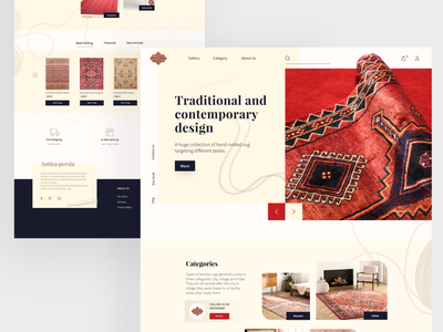 Persian Rug ecommerce landing page commercial trend product design figma culture tradition historic minimal persian design vintage classic craft art carpet rug ecommerce landingpage webdesign ux ui