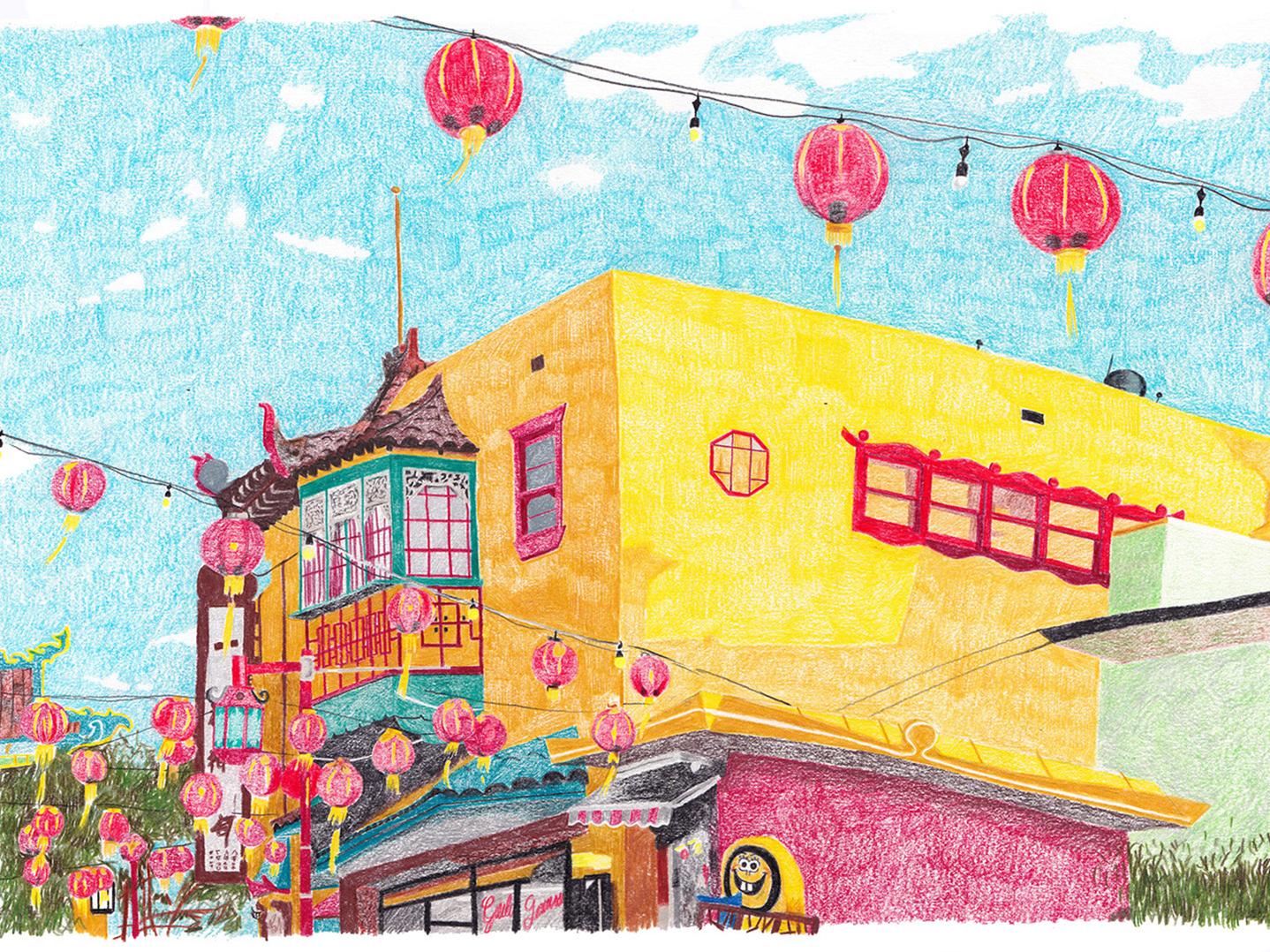 Chinatown art drawing illustration