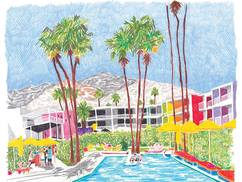 Palm Springs illustration drawing art