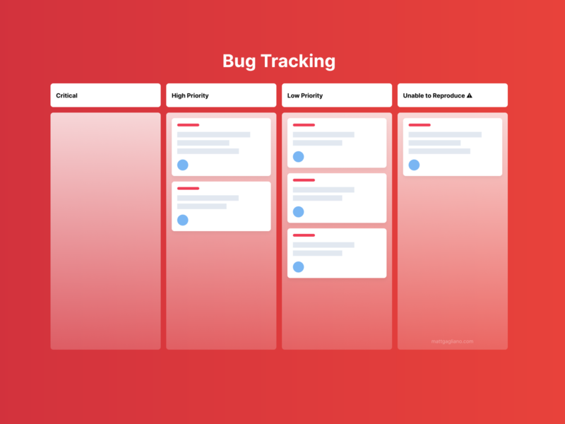 Bug Tracking Board product management product design ui